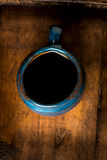 Coffee in grunge blue clay cup Stock Images