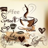 Coffee  grunge vintage vector design with coffee cups, grains an Royalty Free Stock Images
