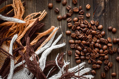 Coffee on grunge wooden background. On cloth Royalty Free Stock Photography