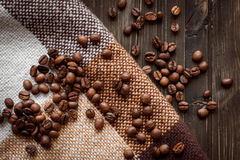 Coffee on grunge wooden background. On cloth Royalty Free Stock Images