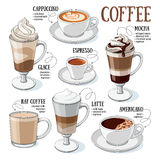 Coffee guide. Different types of coffee. Coffee menu. Set of vector illustrations royalty free illustration