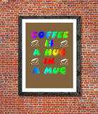 Coffee is a hag in a mug written in picture frame Royalty Free Stock Photos
