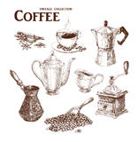 Coffee hand draw set. Coffee set. Hand drawn collection in vintage style. Vector and raster illustration Royalty Free Stock Image