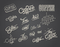 Coffee hand drawing typography and element. Stock Image