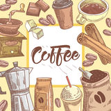 Coffee Hand Drawn Background with Coffee Cup, Cinnamon and Chocolate. Food and Drink. Vector illustration Royalty Free Stock Images