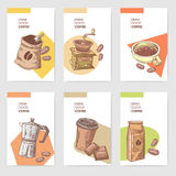 Coffee Hand Drawn Cards Brochure Menu with Beans, Pot and Chocolate. Food and Drink Royalty Free Stock Photos