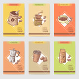 Coffee Hand Drawn Cards Brochure Menu with Coffee Beans, Pot and Chocolate. Food and Drink Stock Photos