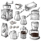Coffee Hand Drawn Collection. Sketch Illustration Set With Turk Cups Bag With Beans Maker Kettle Cups Latte Cinnamon. Coffee Hand Drawn Collection. Vector Sketch royalty free illustration