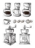 Coffee Hand Drawn Collection Vector Sketch Set With Cups Beans Maker Latte grinder machine. Coffee Hand Drawn Collection Vector Sketch Illustration Set With Cups stock illustration