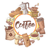 Coffee Hand Drawn Design with Coffee Beans, Sugar and Chocolate. Food and Drink Stock Images