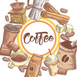 Coffee Hand Drawn Design with Coffee Beans, Sugar and Cinnamon. Food and Drink Royalty Free Stock Photo