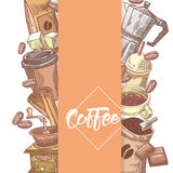 Coffee Hand Drawn Design with Coffee Beans, Sugar and Cinnamon. Food and Drink Stock Images
