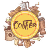 Coffee Hand Drawn Design with Coffee Beans, Sugar and Pot. Food and Drink Royalty Free Stock Image