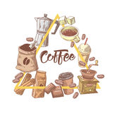 Coffee Hand Drawn Design with Cup, Sugar and Cinnamon. Food and Drink Royalty Free Stock Photo