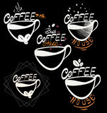 Coffee hand drawn elements. Set of drawings for design Royalty Free Stock Photos