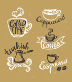 Coffee hand drawn Labels. Logo template collection. Royalty Free Stock Image