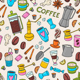 Coffee hand-drawn pattern Royalty Free Stock Photos