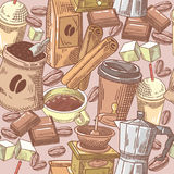 Coffee Hand Drawn Seamless Background with Beans, Sugar and Chocolate. Food and Drink Stock Photography