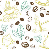 Coffee Hand Drawn Seamless Pattern Royalty Free Stock Photo