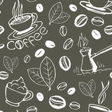 Coffee Hand Drawn Seamless Pattern Stock Photos