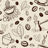 Coffee Hand Drawn Seamless Pattern Royalty Free Stock Photos