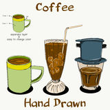 Coffee Hand Drawn on separate layer Royalty Free Stock Image