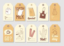 Coffee Hand Drawn Tags Collection. Vintage Style Freehand Elements with Hot Drinks and Milk Royalty Free Stock Photos