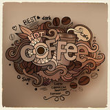 Coffee hand lettering and doodles elements Royalty Free Stock Photos