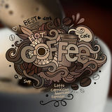 Coffee hand lettering and doodles elements Stock Photography