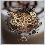 Coffee hand lettering and doodles elements Royalty Free Stock Image