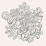 Coffee hand lettering sketch Royalty Free Stock Photos