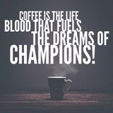Coffee quotes typography on coffee mug background. beautiful hand lettering on the coffee mug background. Stock Photo