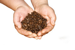 Coffee is in hands Stock Photos