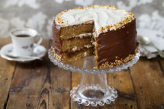 Coffee and hazelnut cake Stock Images