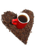 Coffee in heart Royalty Free Stock Image