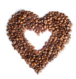 Coffee heart. Heart of coffee grains is on the white background Royalty Free Stock Image