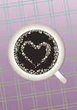 Coffee heart. A cup of coffee with foam in the form of a heart on the delicate purple tablecloths. Illustration can be used for coffee shops and restaurants Stock Images
