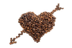 Coffee heart. Isolated on white background Stock Photography