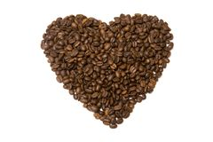 Coffee Heart. A background with a view of a heart made of coffee beans, isolated on a white background Royalty Free Stock Images