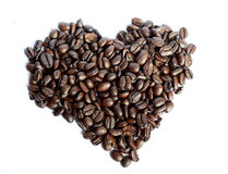 Coffee Heart. Beautiful roasted Coffee beans heart on a white background royalty free stock photography