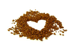 Coffee heart. Instant coffee in the form of heart Stock Image