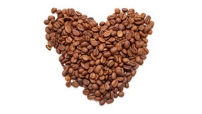 Coffee heart. Coffee beans in the form of heart Stock Photos
