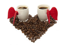 Coffee heart and the angel wings Stock Image