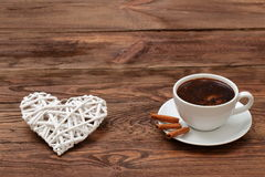Coffee and heart as a token of love. Cordial meeting over coffee in the proof of eternal love Royalty Free Stock Photos