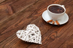 Coffee and heart as a token of love. Cordial meeting over coffee in the proof of eternal love Stock Photo