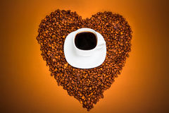 Coffee and Heart from beans Royalty Free Stock Images