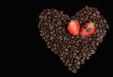 Coffee heart with berries Royalty Free Stock Photos