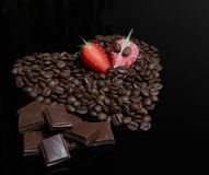 Coffee heart with berries Royalty Free Stock Image