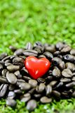 Coffee heart. Closeup red heart on coffee beans on green grass background Stock Photo