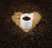 Coffee heart with cup Royalty Free Stock Photography